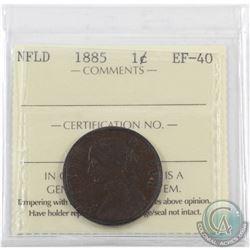 Newfoundland 1-cent 1885 ICCS Certified EF-40