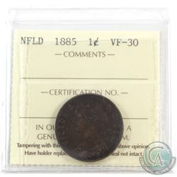 Newfoundland 1-cent 1885 ICCS Certified VF-30. Key date!