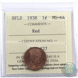 Newfoundland 1-cent 1938 ICCS Certified MS-64 Red