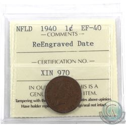 Newfoundland 1-cent 1940 Re-Engraved Date ICCS Certified EF-40