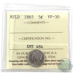 Newfoundland 5-cent 1865 ICCS Certified VF-30. Nice first year issue.