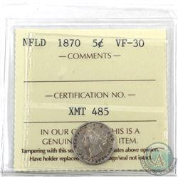 Newfoundland 5-cent 1870 ICCS Certified VF-30. Key Date!