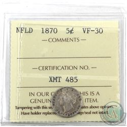 Newfoundland 5-cent 1870 ICCS Certified VF-30. Key Date!