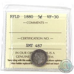 Newfoundland 5-cent 1880 ICCS Certified VF-30.