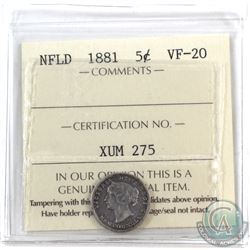 Newfoundland 5-cent 1881 ICCS Certified VF-20.