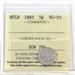 Newfoundland 5-cent 1885 ICCS Certified VG-10 *Key Date*