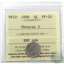 Newfoundland 5-cent 1888 Obv. 3 ICCS Certified VF-20. Scarce Obverse!