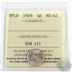 Newfoundland 5-cent 1929 ICCS Certified MS-62. Bold Strike
