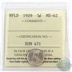 Newfoundland 5-cent 1929 ICCS Certified MS-62. Bold Strike