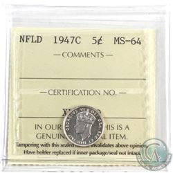 Newfoundland 5-cent 1947c ICCS Certified MS-64. Bright mirror finish coin with a hint of cameo.