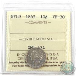 Newfoundland 10-cent 1865 ICCS Certified VF-30.