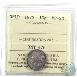Newfoundland 10-cent 1873 ICCS Certified VF-20 *Key Date*