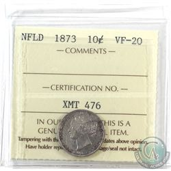 Newfoundland 10-cent 1873 ICCS Certified VF-20 *Key Date*