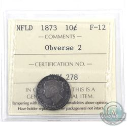 Newfoundland 10-cent 1873 Obverse 2 ICCS Certified F-12
