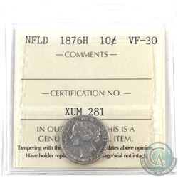 Newfoundland 10-cent 1876H ICCS Certified VF-30.