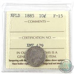 Newfoundland 10-cent 1885 ICCS Certified F-15 *Key Date*