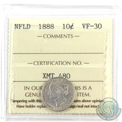 Newfoundland 10-cent 1888 ICCS Certified VF-30. Scarce coin!