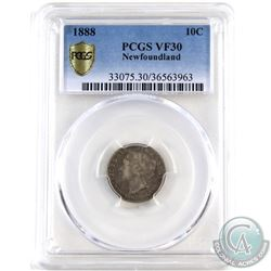 Newfoundland 10-cent 1888 PCGS Certified VF-30. Scarce Key Date coin!