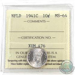 Newfoundland 10-cent 1941c ICCS Certified MS-64! Pristine blast white!