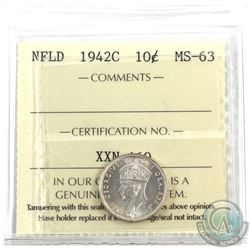 Newfoundland 10-cent 1942c ICCS Certified MS-63. Bright flashy coin with hints of golden throughout.