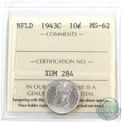 Newfoundland 10-cent 1943c ICCS Certified MS-62! Scarce in Mint state!