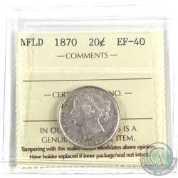 Newfoundland 20-cent 1870 ICCS Certified EF-40.