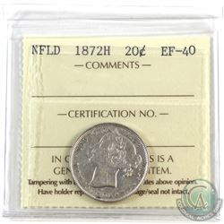 Newfoundland 20-cent 1872H ICCS Certified EF-40