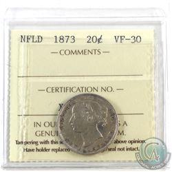 Newfoundland 20-cent 1873 ICCS Certified VF-30. *Key Date*