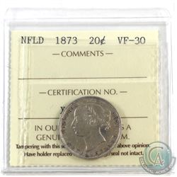 Newfoundland 20-cent 1873 ICCS Certified VF-30. *Key Date*