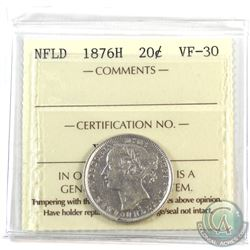 Newfoundland 20-cent 1876H ICCS Certified VF-30.