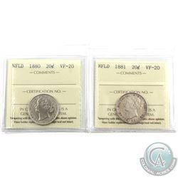Newfoundland 20-cent 1880 & 1881 ICCS Certified VF-20. 2pcs