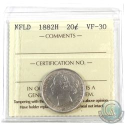 Newfoundland 20-cent 1882H ICCS Certified VF-30
