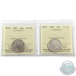 Newfoundland 20-cent 1885 & 1888 ICCS Certified VF-20. 2pcs