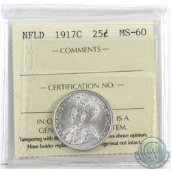 Newfoundland 25-cent 1917C ICCS Certified MS-60. Frosty white coin.