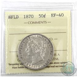 Newfoundland 50-cent 1870 ICCS Certified EF-40. Bright coin with mint lustre throughout the margins.