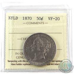 Newfoundland 50-cent 1870 ICCS Certified VF-20.