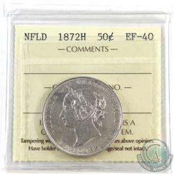 Newfoundland 50-cent 1872H ICCS Certified EF-40. Well struck coin.