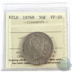 Newfoundland 50-cent 1876H ICCS Certified VF-20.