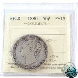 Newfoundland 50-cent 1880 ICCS Certified F-15.