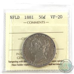 Newfoundland 50-cent 1881 ICCS Certified VF-20.