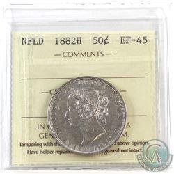 Newfoundland 50-cent 1882H ICCS Certified EF-45.