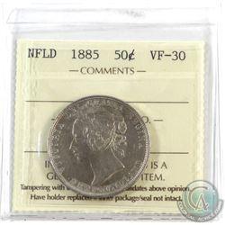 Newfoundland 50-cent 1885 ICCS Certified VF-30.