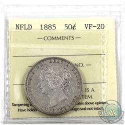 Newfoundland 50-cent 1885 ICCS Certified VF-20.