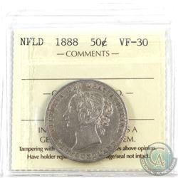 Newfoundland 50-cent 1888 ICCS Certified VF-30