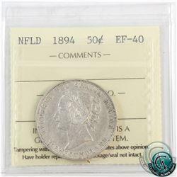 Newfoundland 50-cent 1894 ICCS Certified EF-40.