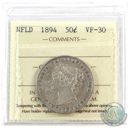Newfoundland 50-cent 1894 ICCS Certified VF-30