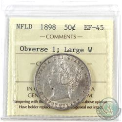 Newfoundland 50-cent 1898 Obv. 1, Large W ICCS Certified EF-45.