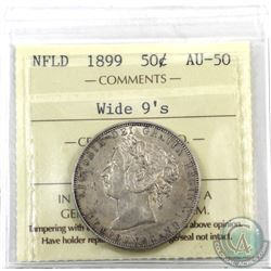 Newfoundland 50-cent 1899 Wide 9's ICCS Certified AU-50! Lightly toned with underlying lustre.