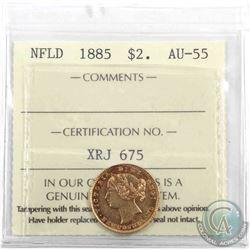 Newfoundland $2 1885 Gold ICCS Certified AU-55