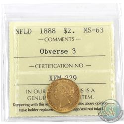 Newfoundland $2 1888 Gold Obverse 3 ICCS Certified MS-63